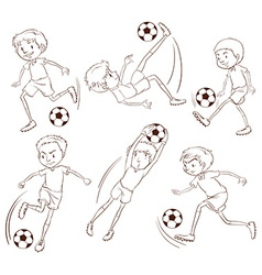 A simple sketch of the soccer players vector image