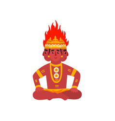 Agni indian god of fire on a vector