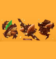 almond nuts and chocolate splashes 3d realistic vector image