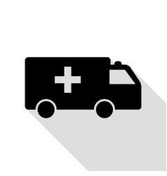 ambulance sign black icon with flat vector image