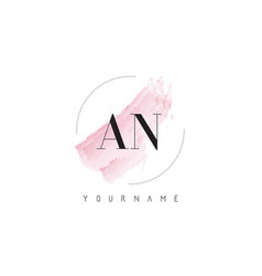 an a n watercolor letter logo design with vector image