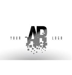 Ar a r pixel letter logo with digital shattered vector