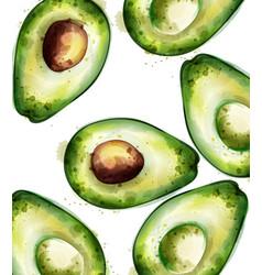 Avocado pattern watercolor green juicy vector