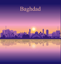 baghdad city silhouette on sunset background vector image