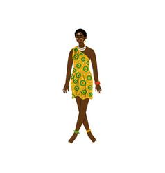 beautiful african woman aboriginal girl dressed vector image