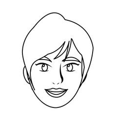 Beautiful woman face smiling outline vector