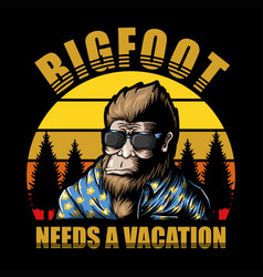 bigfoot vacation sunset vector image