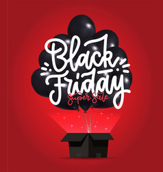 black friday sale poster with dark shiny balloons vector image