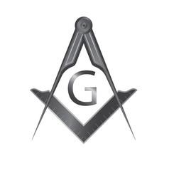 Black iron masonic square and compass symbol vector