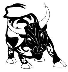 Bull tattoo with ornament decoration vector
