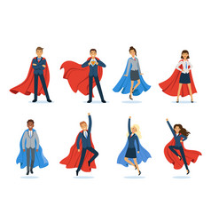 business superheroes successful managers and vector image