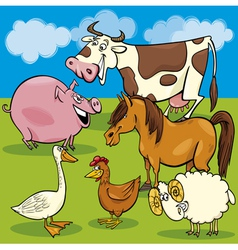 cartoon farm animals group vector image