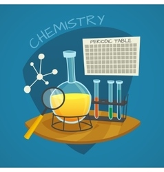 Chemical laboratory cartoon icons set vector