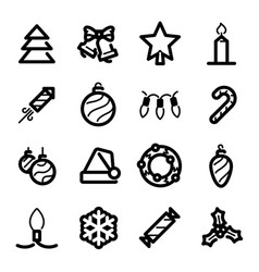 christmas icons - christmas tree and decorations vector image