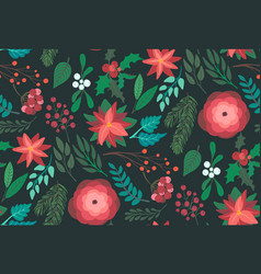 christmas seamless pattern with flowers and vector image