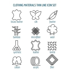 Clothing materials thin line icons vector