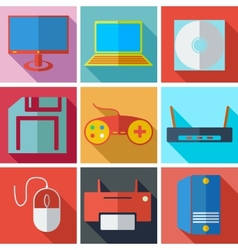 Collection modern flat icons media technology with vector image