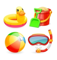 Colorful Beach Toys Icons Set vector image