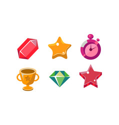 Colorful bright jelly shapes set crystal winner vector