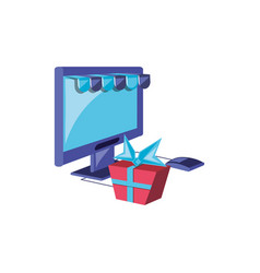 computer monitor with parasol store and gift box vector image