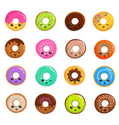 Cute sweets donuts in japanese kawaii style vector