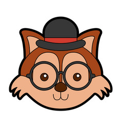 Cute vintage fox face vector