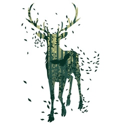 Deer and Abstract Forest Landscape3 vector
