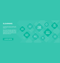 Elearning banner 10 icons conceptdistance vector