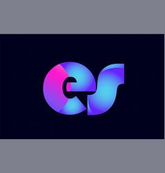 es e s spink blue gradient alphabet letter vector image