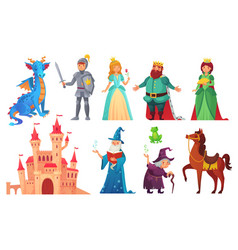 fairy tales characters fantasy knight and dragon vector image