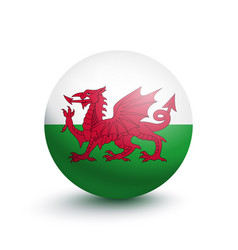 flag of wales in the form of a ball vector image