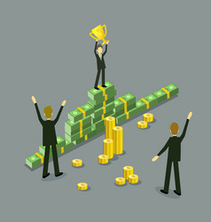flat businessman success achievement profit vector image