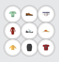 Flat dress set of male footware clothes stylish vector