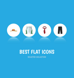 flat icon garment set of cravat elegant headgear vector image