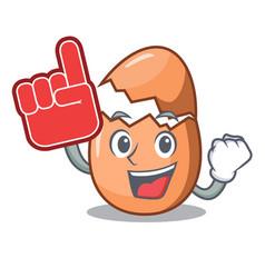 Foam finger broken egg isolated on the mascot vector