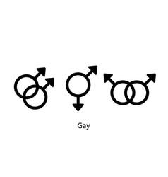 Gay gender symbols homosexual orientation signs vector