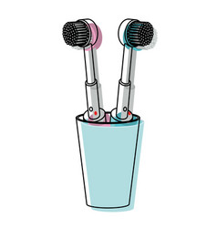 glass with two electric toothbrush in watercolor vector image