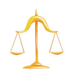 Golden scales of justice cartoon vector