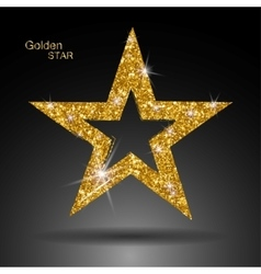 Golden star banner Gold glitter star Gold vector