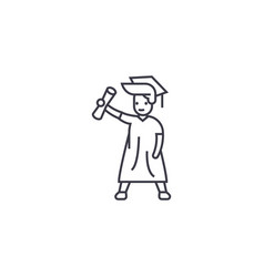 graduate student line icon sign vector image