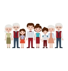 Grandparents parents and kids cartoons design vector
