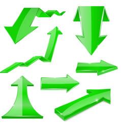 Green 3d arrows shiny icons vector
