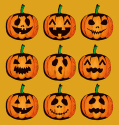 happy halloween card with set pumpkins vector image
