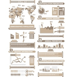 INFOGRAPHIC DEMOGRAPHICS WORLD PERCENTAGE BROWN vector image