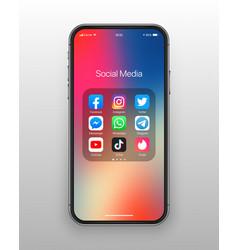 Iphone ios folder social media icons set vector