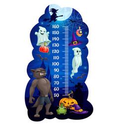 Kids height chart with halloween vector