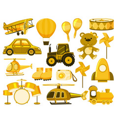 Large set different objects in yellow vector