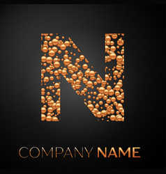 letter n logo gold dots alphabet logotype vector image