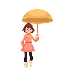 Little kid girl under umbrella walks under rain vector