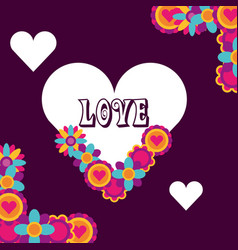 Love heart flowers floral decoration hippie free vector